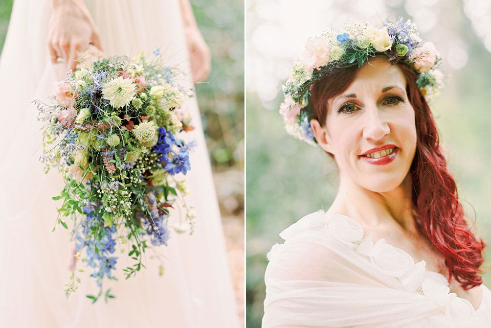 A Wildflower Crown for a Humanist Wedding in a Bluebell Wood