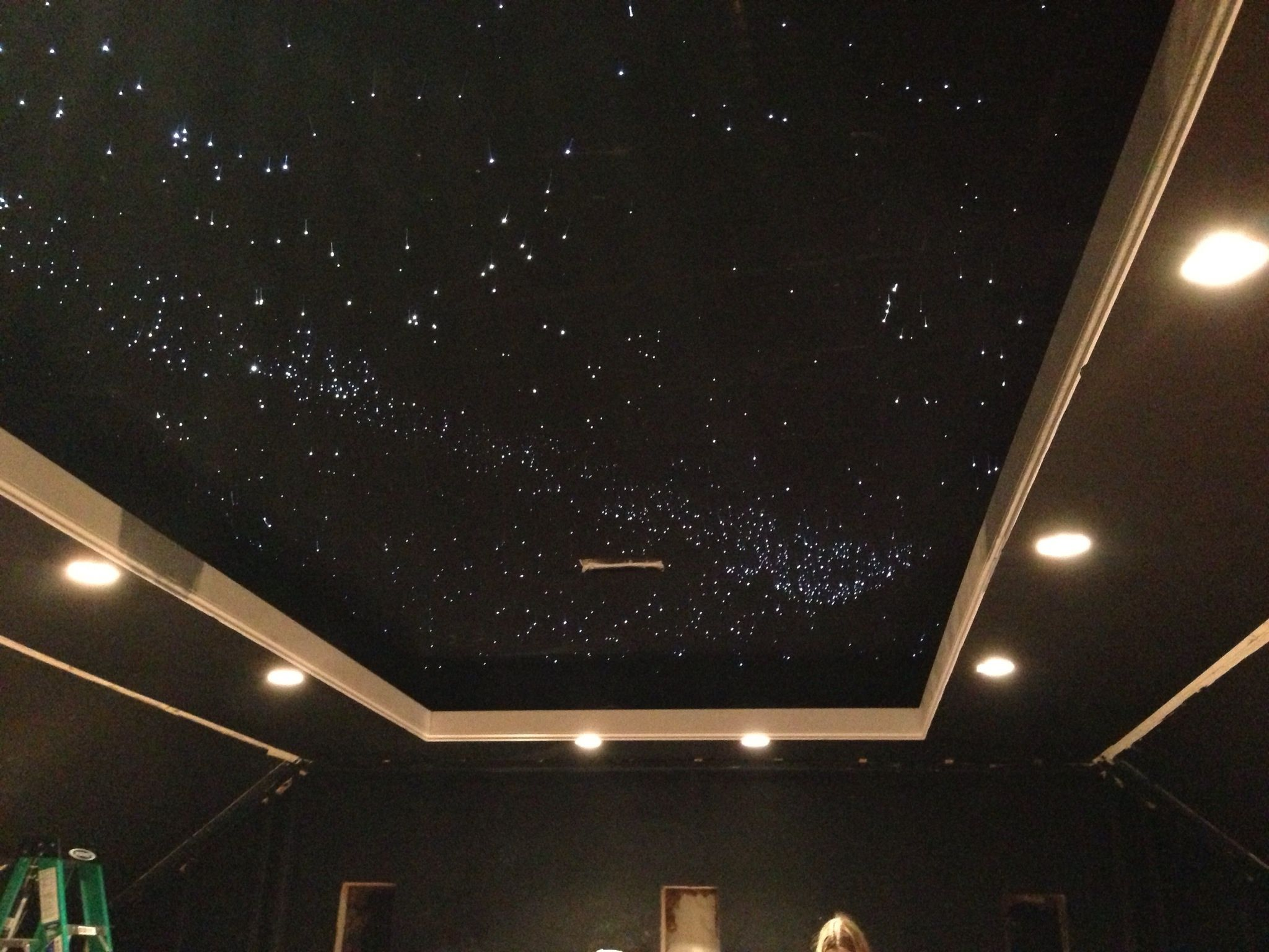 Ceiling constellation projector attached to app that presents the sky map as is on that day
