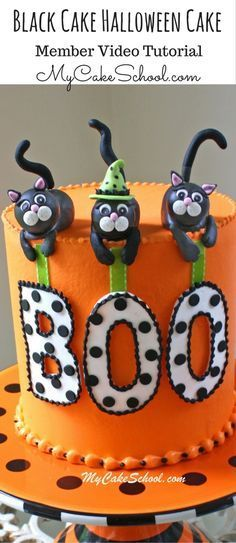 Fun and festive Black Cat Halloween Cake Video Tutorial! Halloween