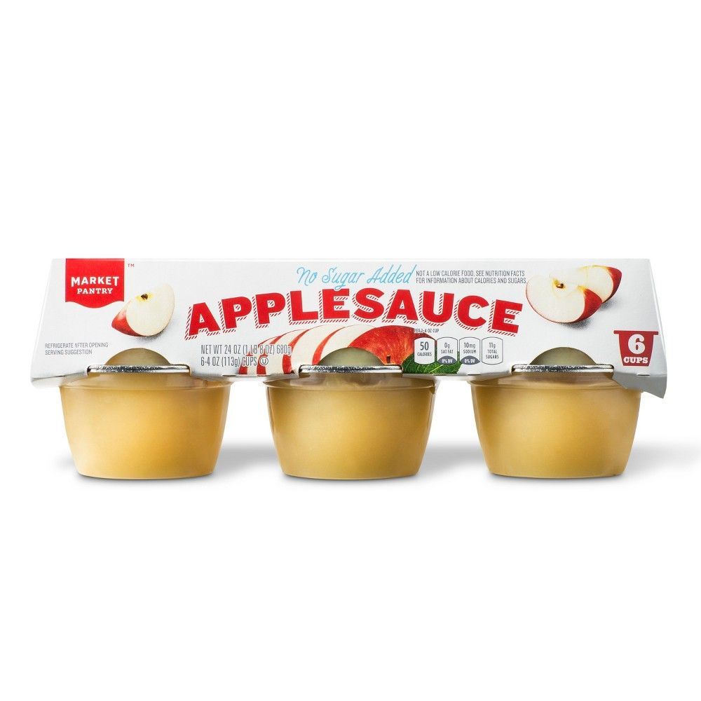 Unsweetened Applesauce Cups 6ct 4oz Market Pantry
