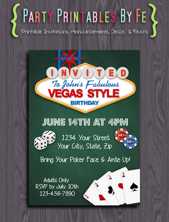 Printable Birthday Party Invitation Las Vegas Birthday Any Age – Casino Themed Party Invitations