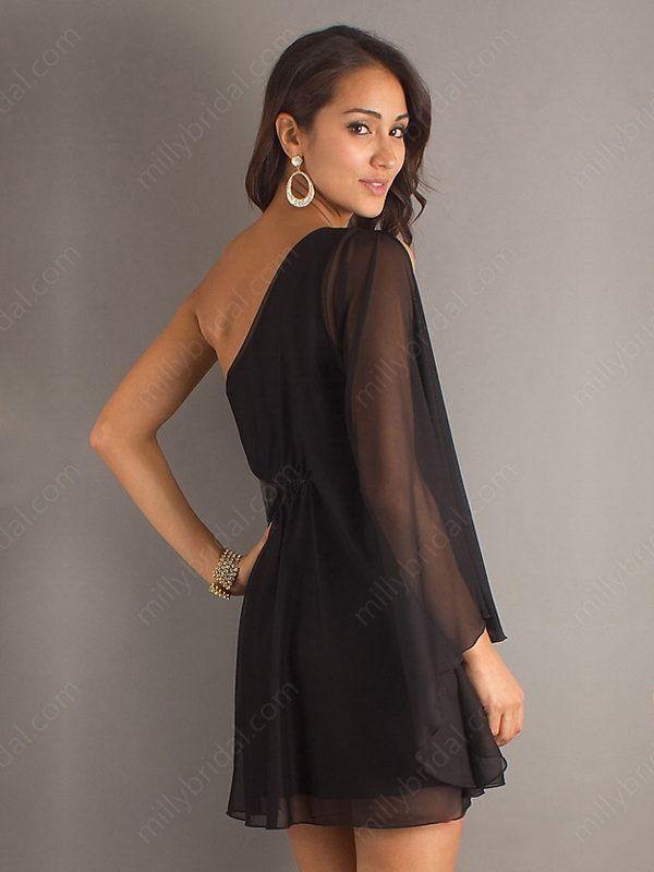 black chiffon short prom dress