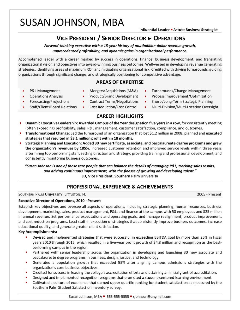 Vp Senior Director Operations Pg 1 Executive Resume Resume Services Resume