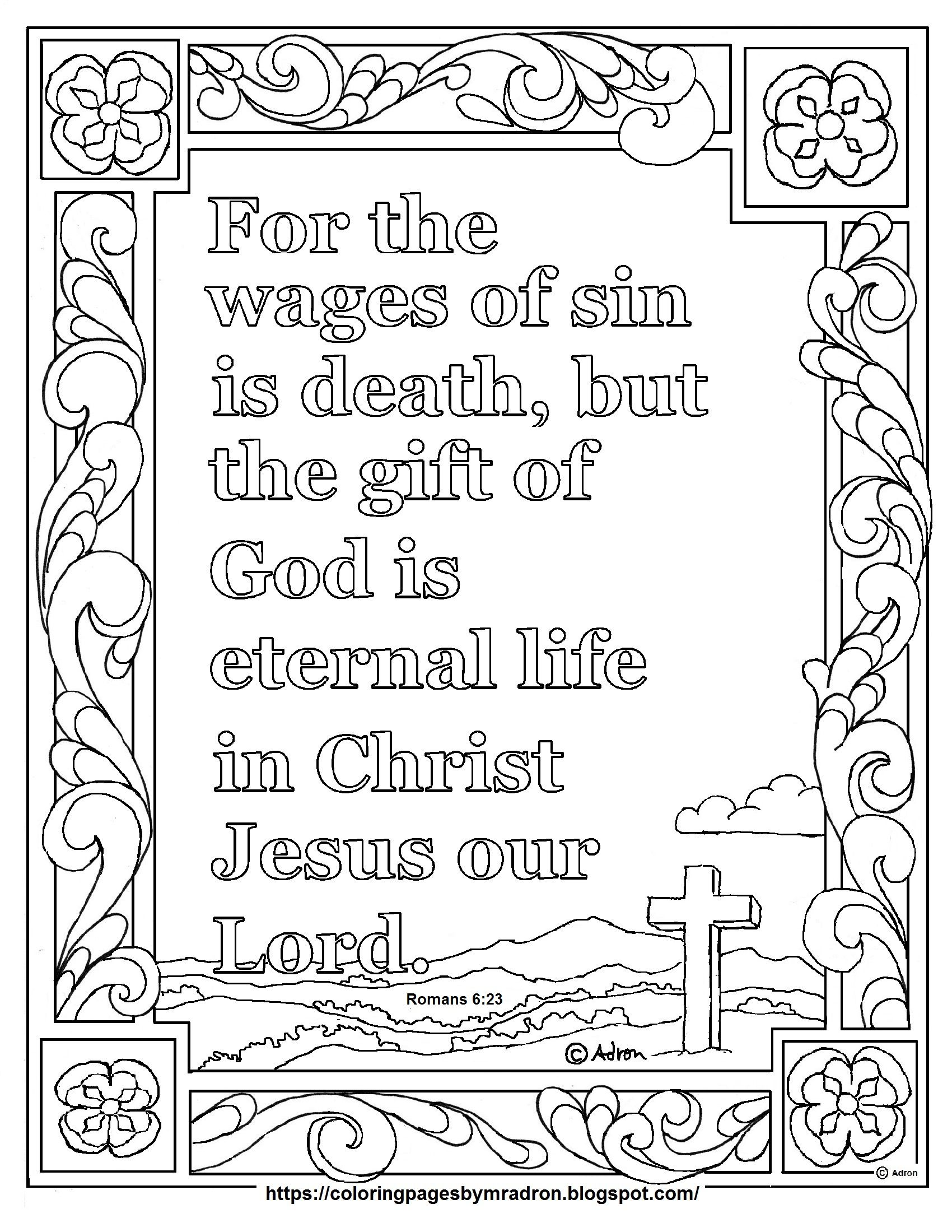 Print And Color Page For Romans 6 23 The Wages Of Sin Scripture Bible Verse Coloring Page Bible Coloring Pages Bible Verse Coloring