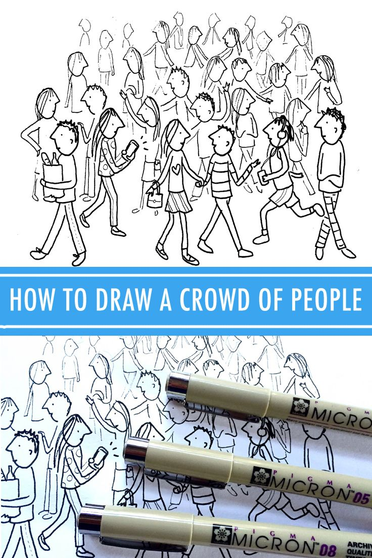 How to Draw a Crowd of People in 3 Steps | Zoe\'s Board Of Penguins ...