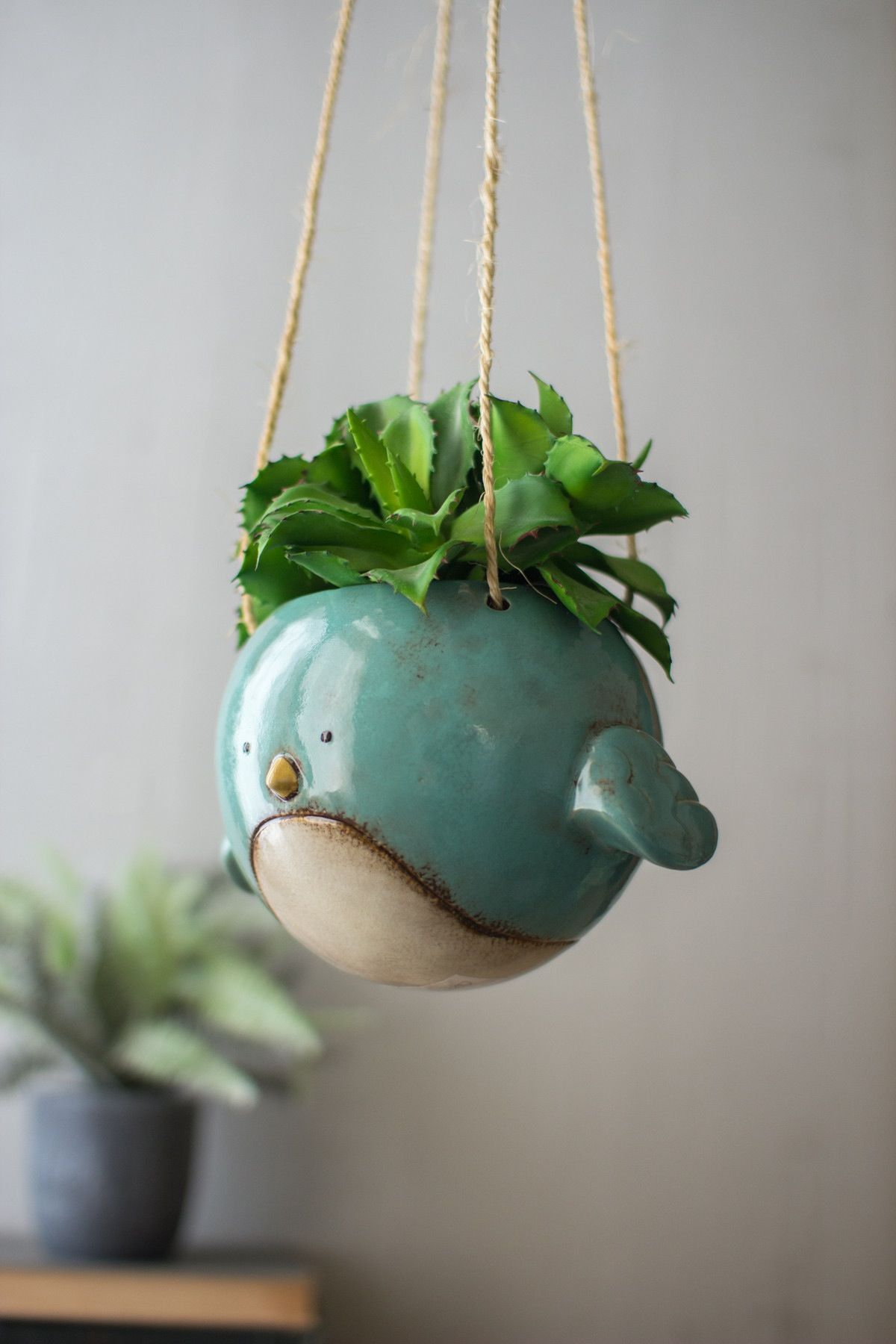 Kalalou ceramic hanging bird planter color blue box and for Colorful hanging planters