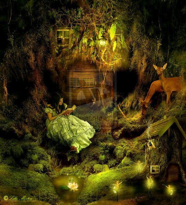 ファンタジーイラスト 森に棲む者達とその近辺 幻想 画像 紹介