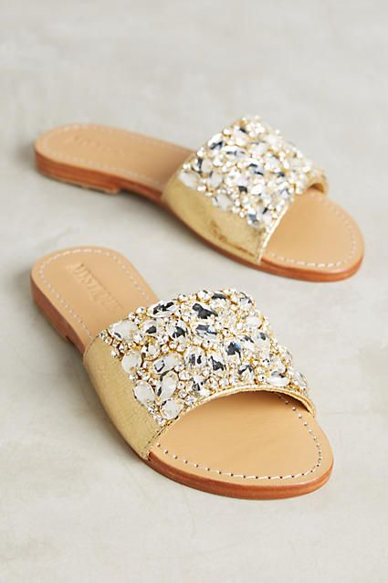 bc11decef445d Mystique Jeweled Slide Sandals. Gold leather with clear crystal stones.  100% handmade on