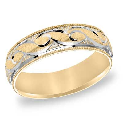 Mens 60mm Comfort Fit Scroll Wedding Band In 10K Two Tone Gold