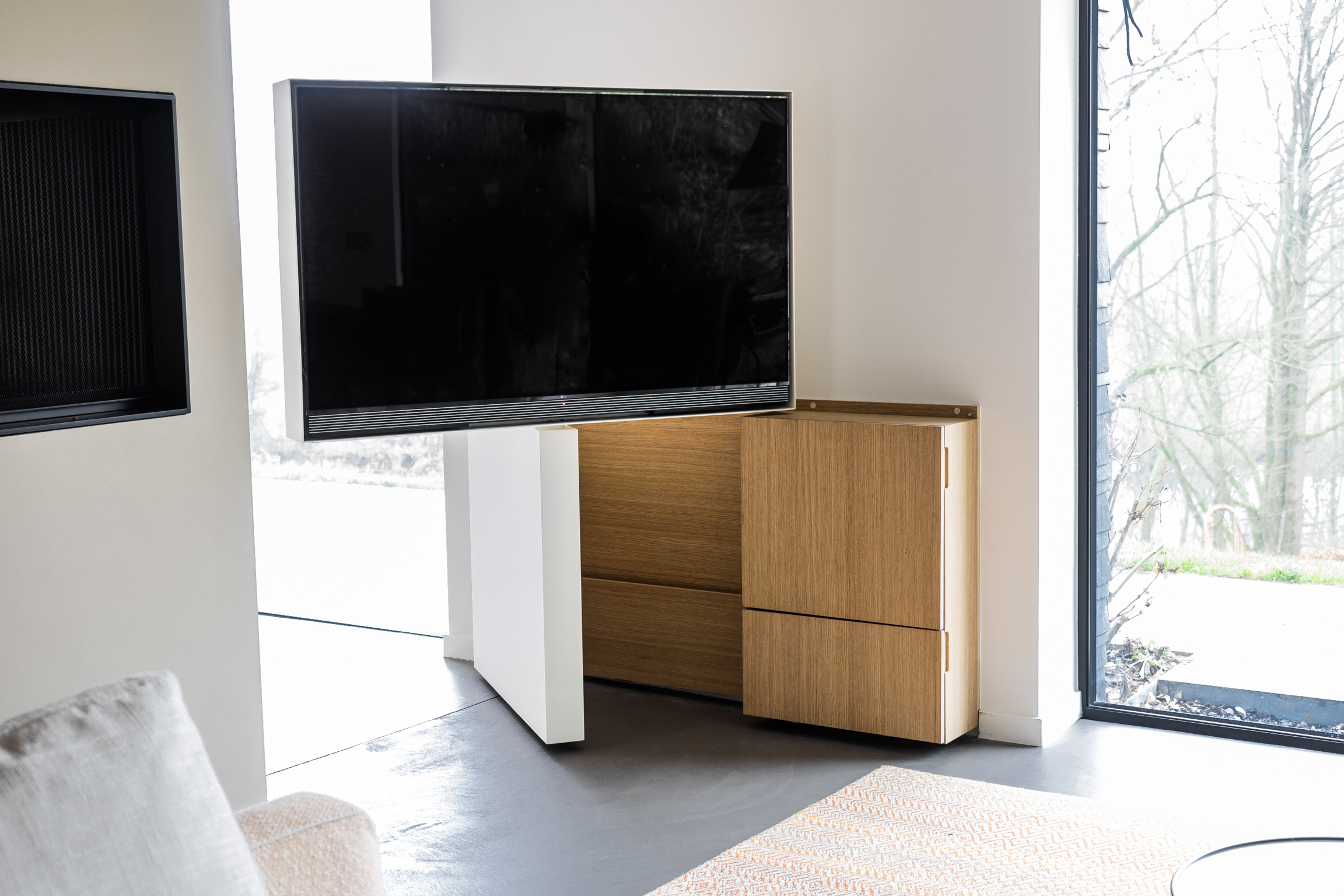 Meuble Tv Pivotant En Acier Et Bois Pivoting Tv Set Made Of Steel  # Meuble Tv Pivotant Design
