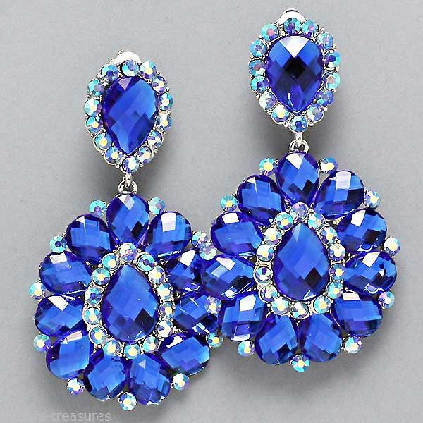 BIG Crystal SAPPHIRE BLUE Chandelier CLIP ON Earrings 3.25 Costume ...