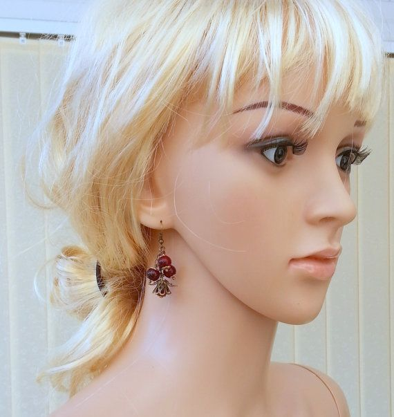 Red Berry EarringsDangle Earringschanderlier by Blackpassion