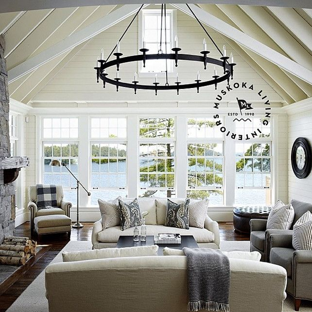 Liivng Room With Exposed Beams. Coastal Living Room With Exposed Beams And  Plank Walls.