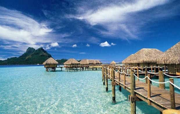Amazing over the water bungalows in the South Pacific provide the ultimate Honeymoon Getaway