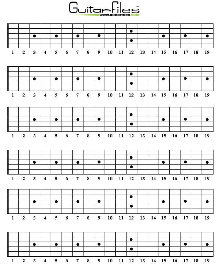 Blank Guitar Fretboard Diagrams Guitar 2 Pinterest Guitars
