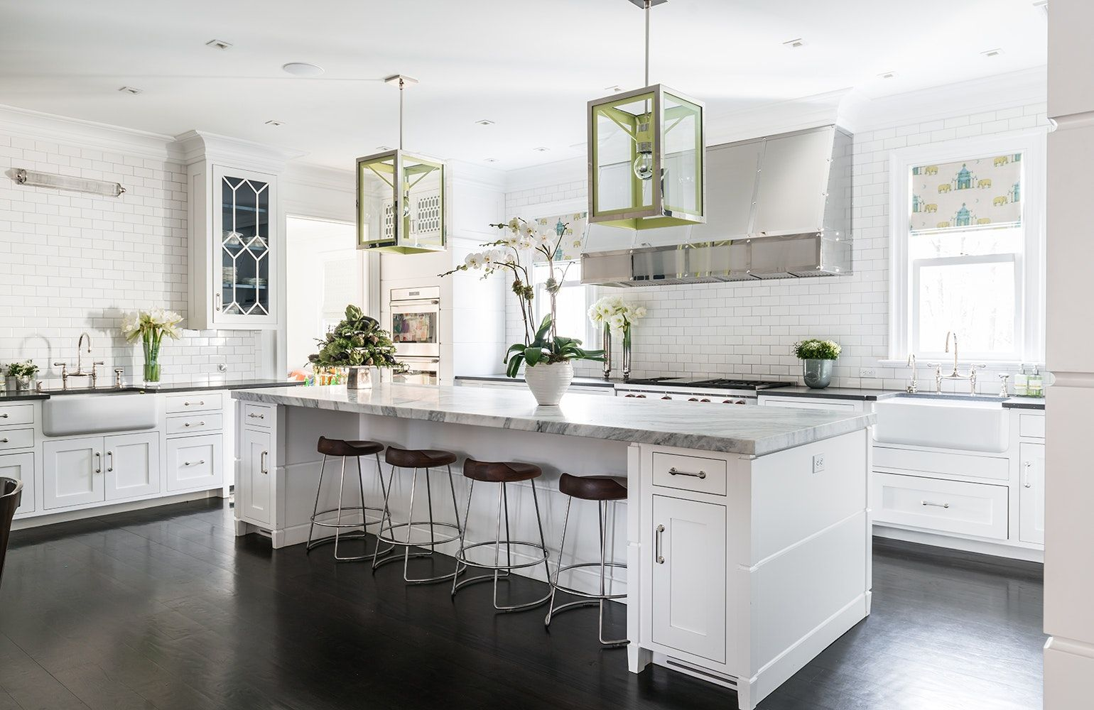 white kitchen with oversized island. home decor and interior ...