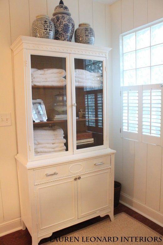 diy tv hutch repurposed china cabinet for bathroom storage one room challenge