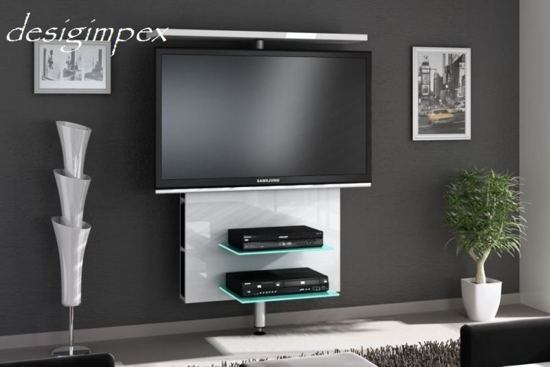 tv wand h 999 wei hochglanz drehbar tv rack lcd tv halterung led beleuchtungt media wall. Black Bedroom Furniture Sets. Home Design Ideas