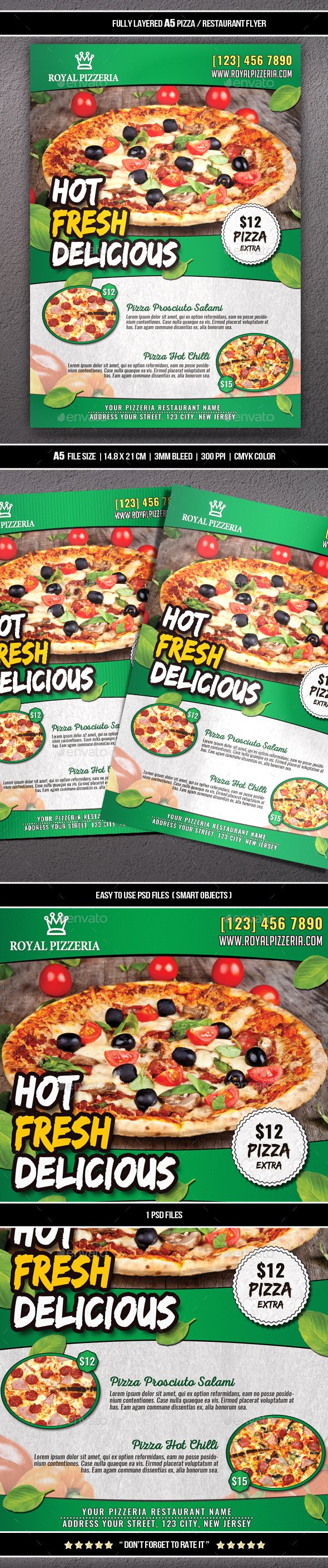 Pizza Restaurant Flyer A5 Restaurant Flyer Flyer Design Template Design