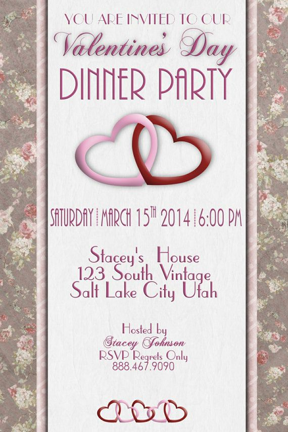 Adult Valentineu0027s Dinner Party Invitation Antique by WriteontheDot - invitation wording ideas for dinner party