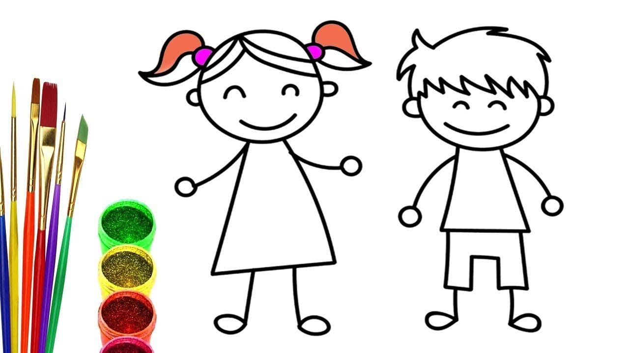 How to Draw Kids, Drawing Girls Coloring Baby Art Colors For ...