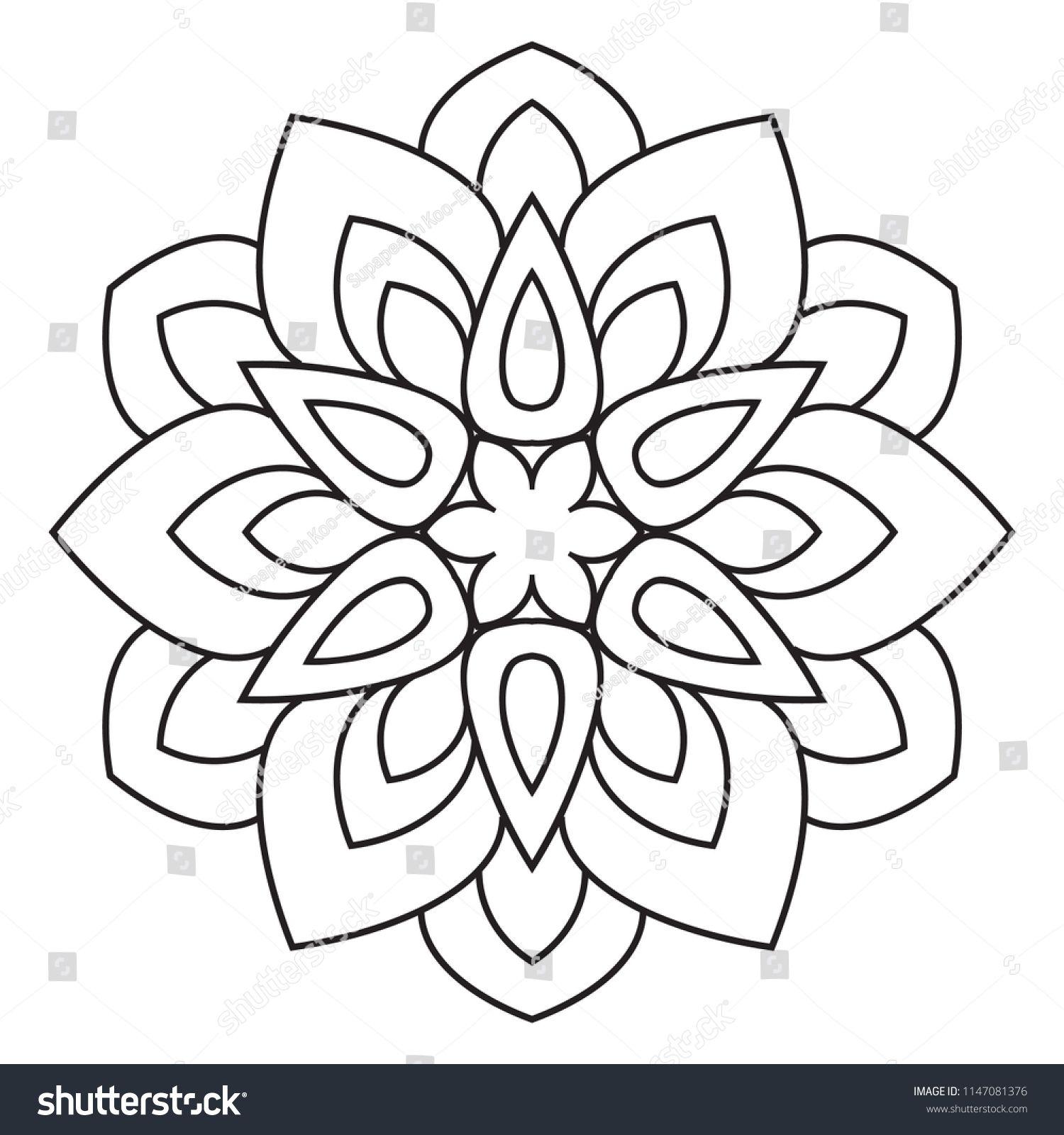 Easy Mandala Basic And Simple Mandalas Coloring Book For Adults Seniors And Beginner Mandalas Fl Simple Mandala Mandala Coloring Pages Easy Mandala Drawing