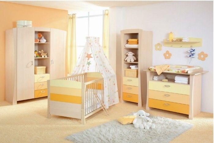 Vintage Babyzimmer Set orange gelb gardinen