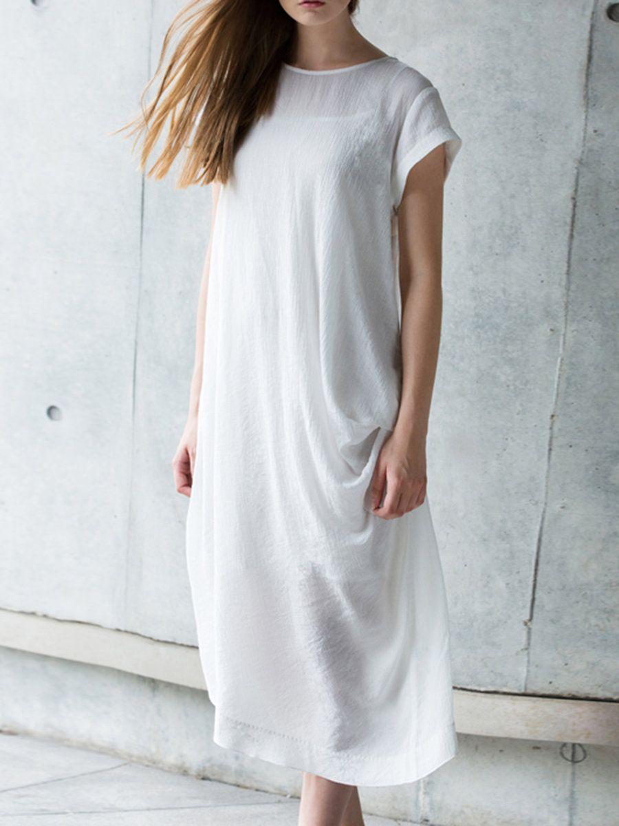 Adorewe stylewe manifique white crew neck asymmetrical plain casual