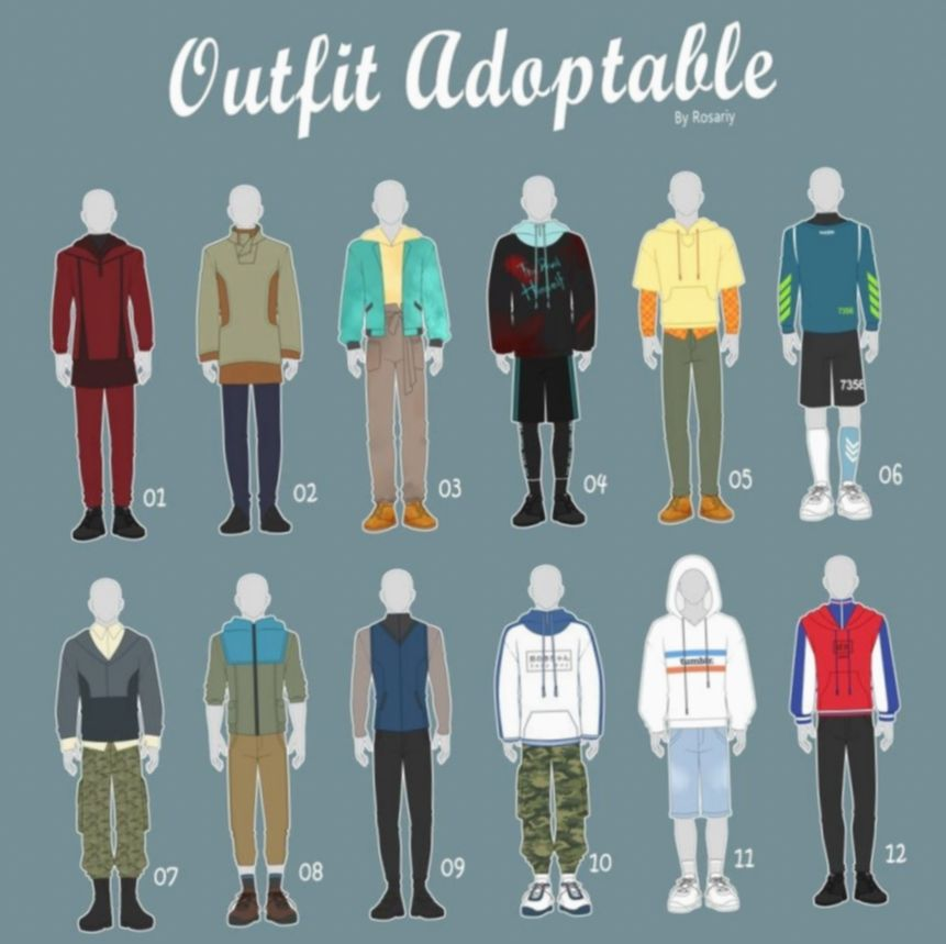 7 Anime Outfits Casual Male Fashion Design Drawings Art Clothes Anime Outfits