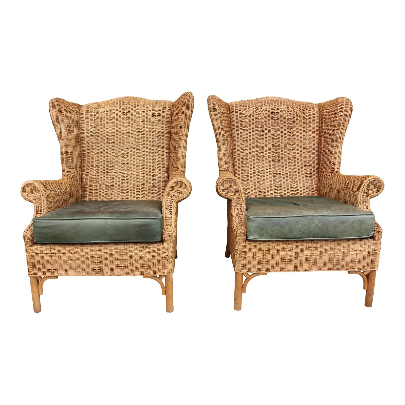 1970s Vintage Henry Link Woven Wicker Wingback Chairs A Pair
