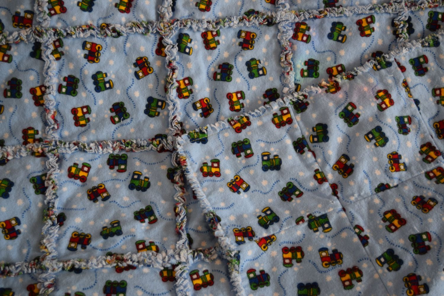 Flannel shirts yellow  Trains and Choochoos Snuggly Flannel Rag Blanket Quilted Squares