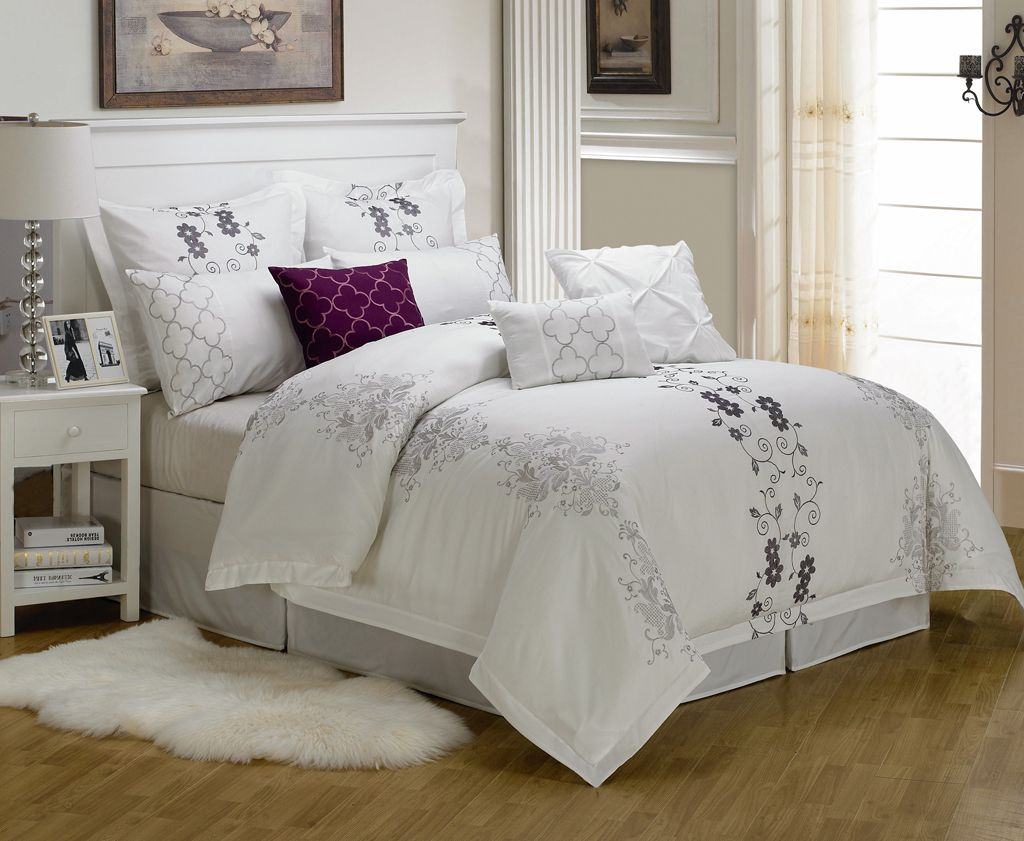 Ribbon embroidery bedspread designs - 9 Piece Cal King Carolyn Embroidered Comforter Set