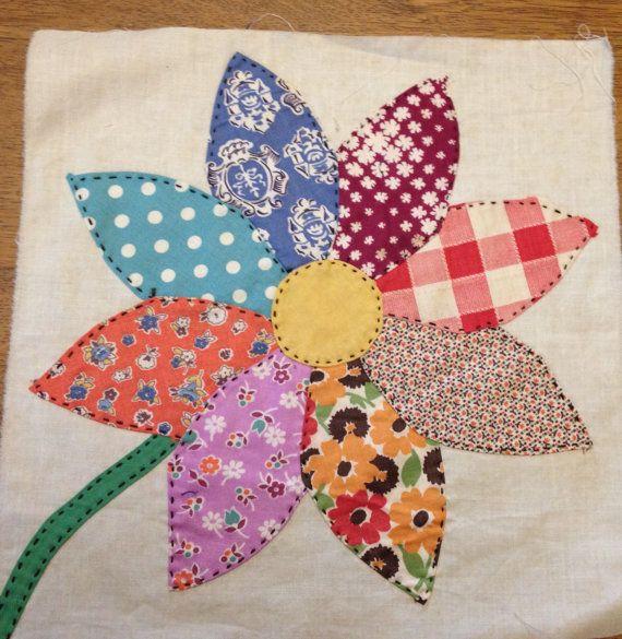 2 Vintage Sunflower Appliqued Quilt Blocks Hand Stitched 1930s