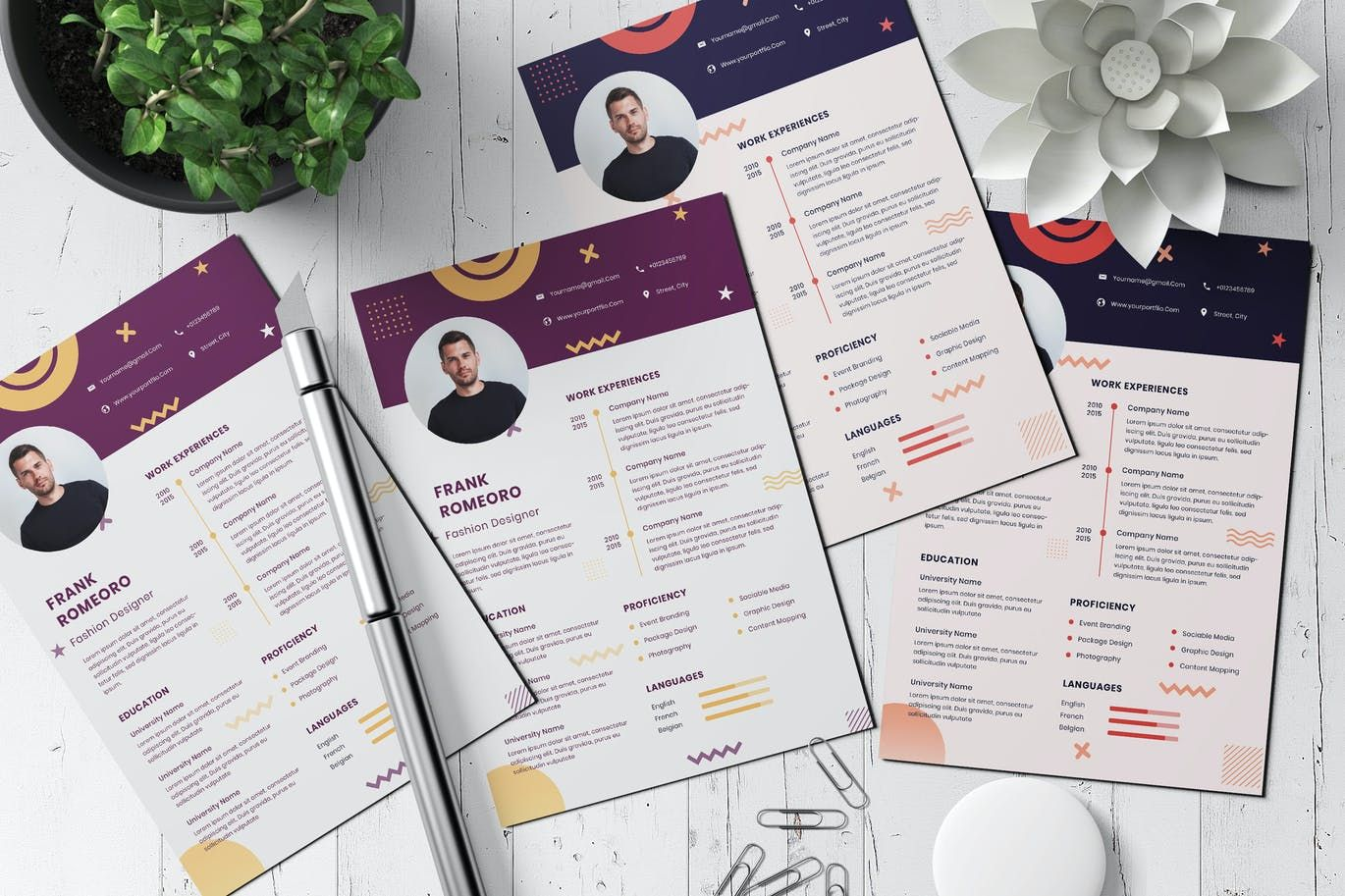 Modern Memphis Creative Business Clean Resume Design PSD
