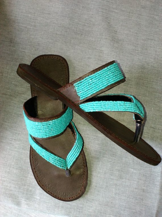 46b6cf02fd501 NEW Azure - African Kenyan Real Leather Handmade Beaded Sandals, Flip-flops,  Thongs