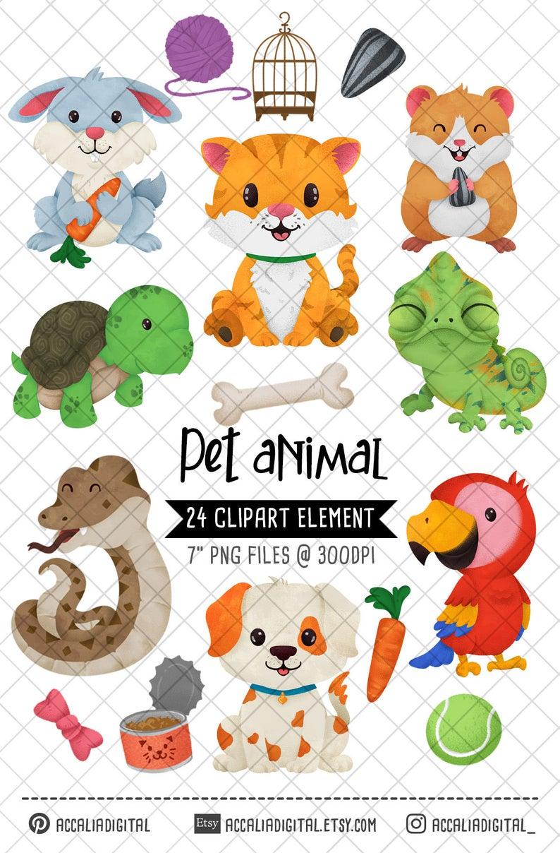Pet Clipart Friendly Animal Cat Clipart Pet Friends Animal Etsy In 2020 Handmade Etsy Gifts Animal Clipart Clip Art