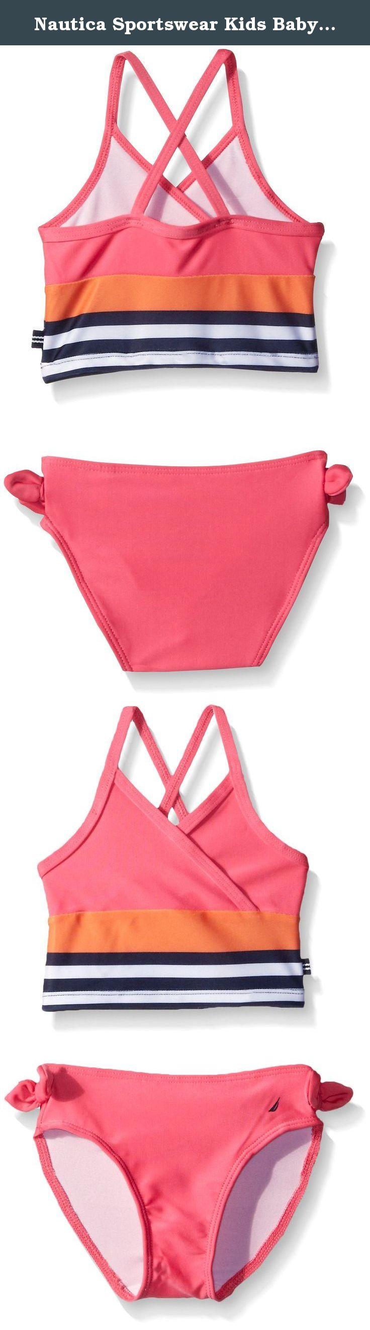 101a20130dd Nautica Sportswear Kids Baby Stripe Tankini, Fuchsia, 18 Months. Nautica  girl stripe cross straps two piece tankini swim set.