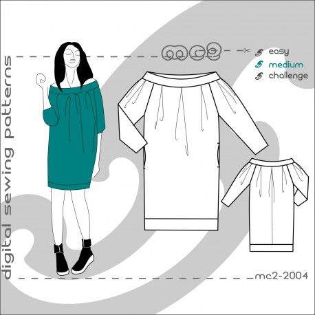 Pleated Off-the-Shoulder Dress | mc2-patterns - sew smart & fit ...