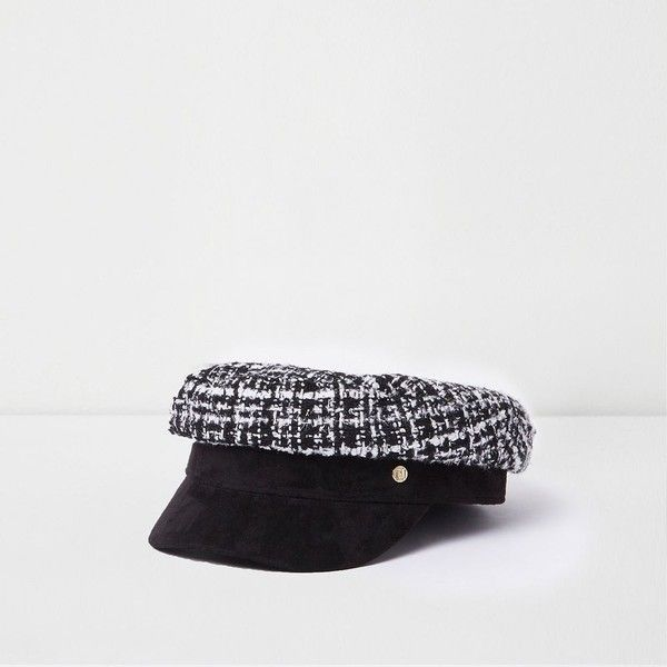 487ed1d4 River Island Black boucle baker boy hat ($40) ❤ liked on Polyvore featuring  accessories, hats, black, women, newsboy cap, river island, news boy hats,  ...