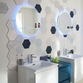 Carrelage Mural Hexagonal X Cm Décor Makara TOILETTES - Carrelage hexagonal bleu
