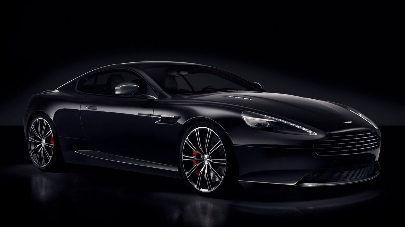 Wallpaper carbon black db9 aston martin black side view