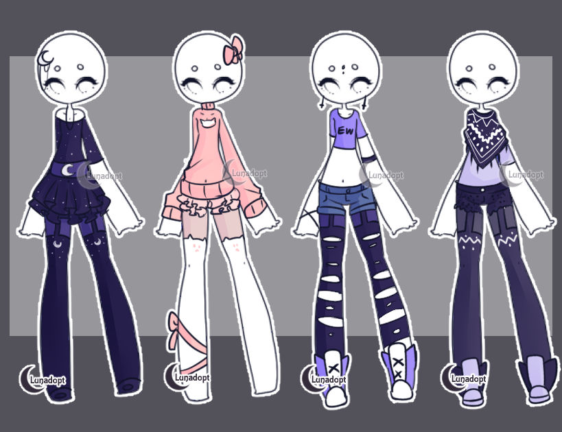 Anime Character Design Base : Set gacha outfits by lunadopt on deviantart fashion