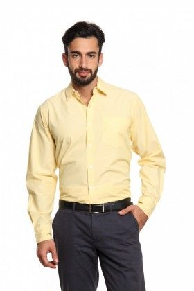 Men Lemon Yellow Cotton Regular Fit Formal Shirt. Find this Pin and ... 7de80ca1f