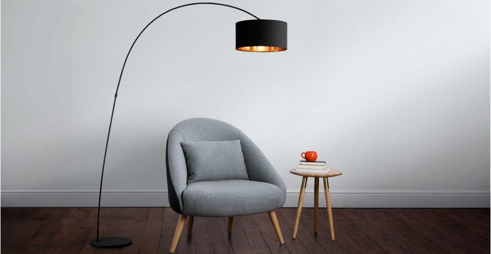 Sweep staande lamp in matzwart met koper made