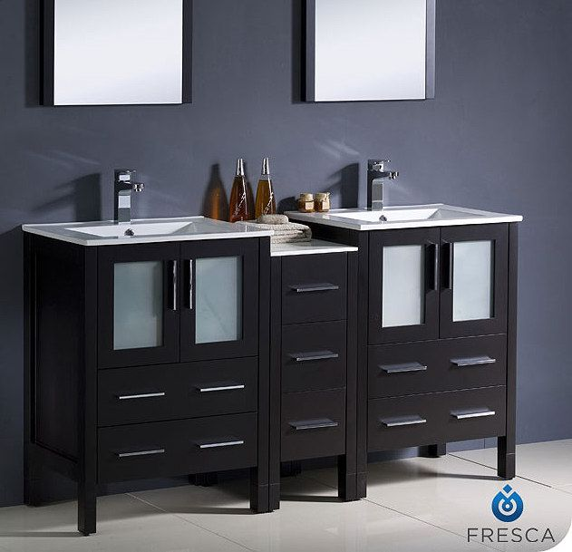 Torino 60 Inch Espresso Vanity With Side Cabinet Fvn62 241224es