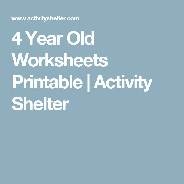 4 Year Old Worksheets Printable | Activity Shelter | Kid\'s learning ...