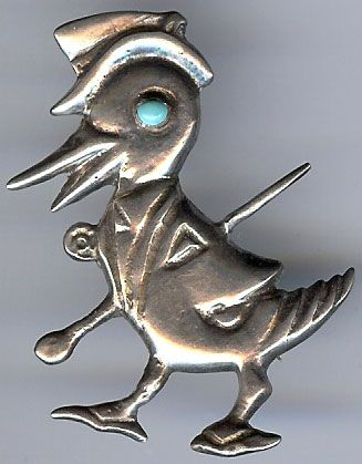 VINTAGE 1940'S MEXICO STERLING SILVER & BLUE GLASS STRUTTING GENTLEMAN DUCK PIN