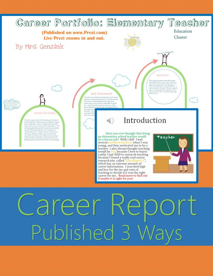 career portfolio project report example published 3 ways career report example published 3 ways prezi powerpoint and word aligned to s college and career readiness lessons and grade career portfolio