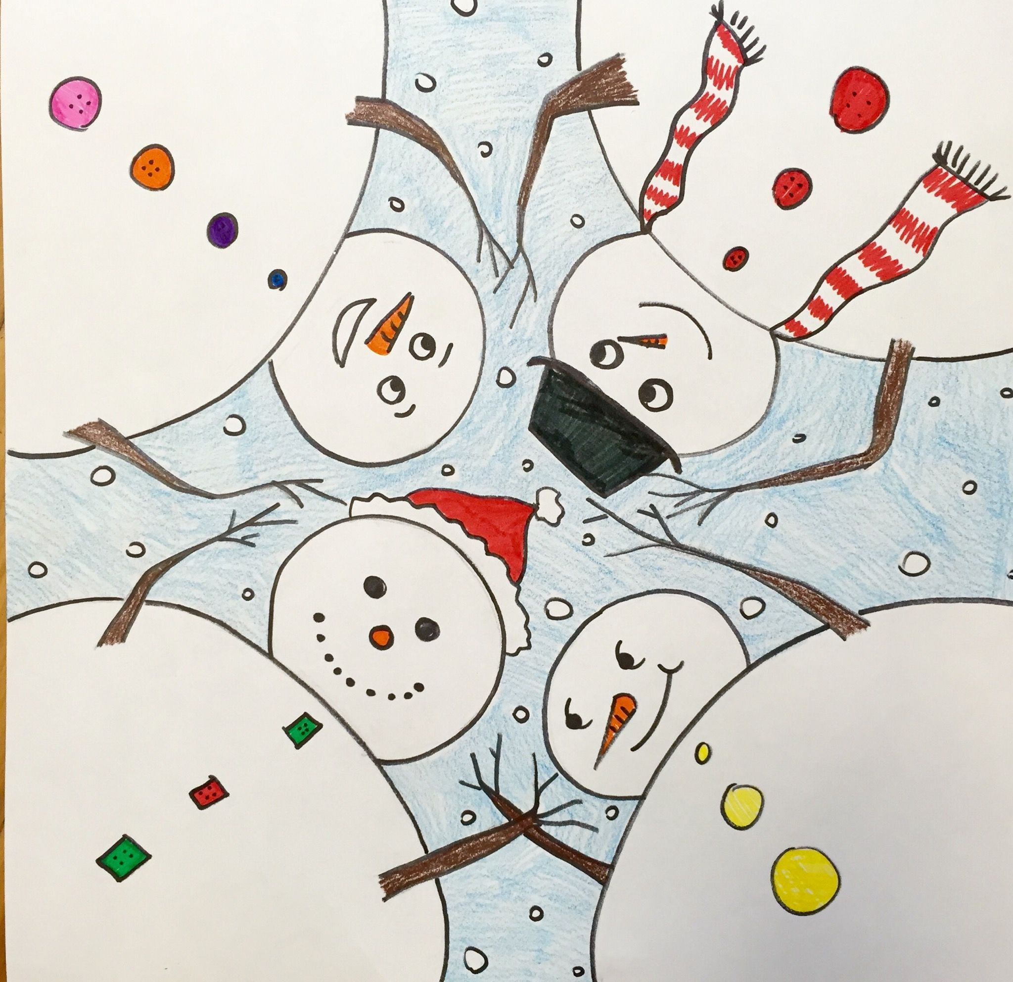 step by step - how to draw snowmen at play