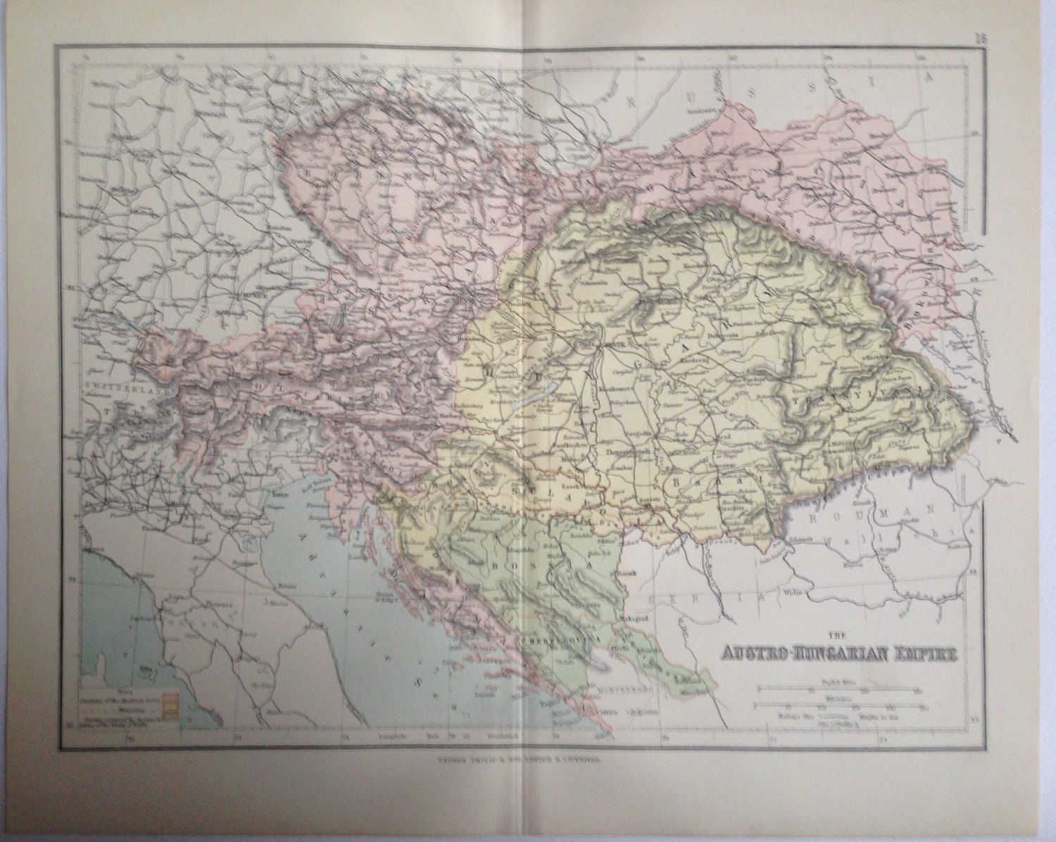 1887 AUSTRO HUNGARIAN EMPIRE map antique original colour